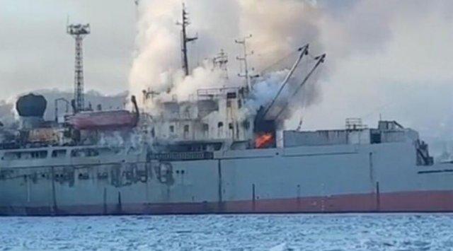Пожар наплавзаводе гасят  вприморской Находке, пострадал один человек